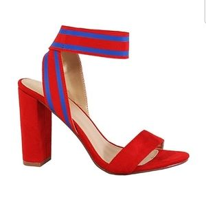 Yoki red and blue ankle strap heels